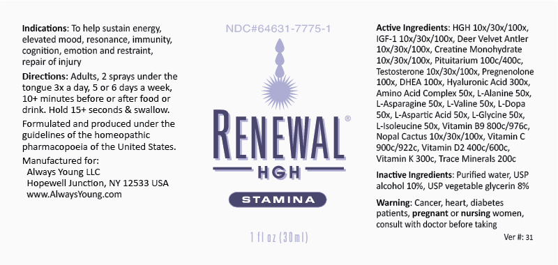 Renewal Stamina bottle label